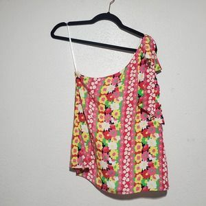 Lilly Pulitzer roe silk one shoulder top floral